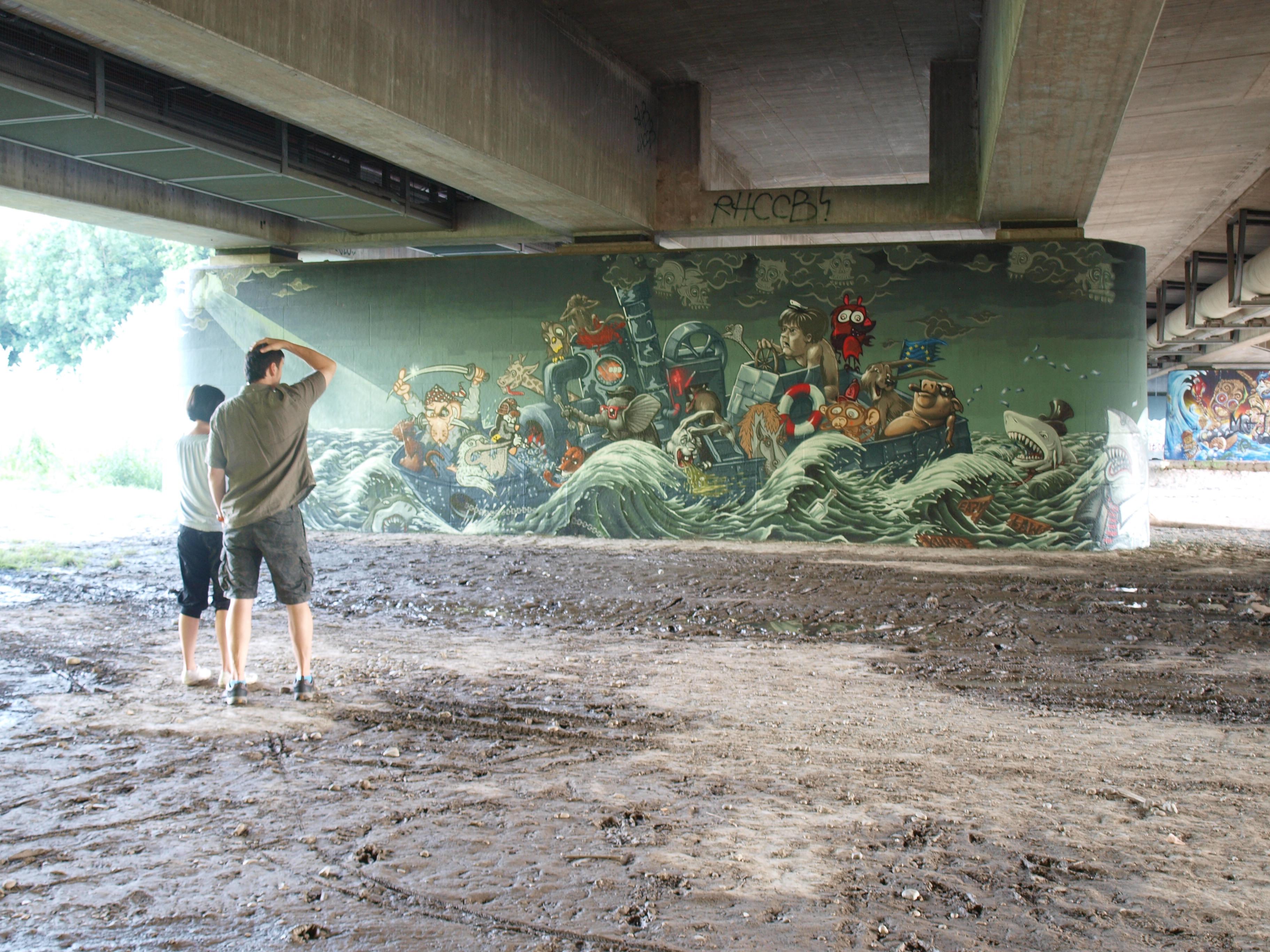 Graffito unter der Brudermühl-Brücke