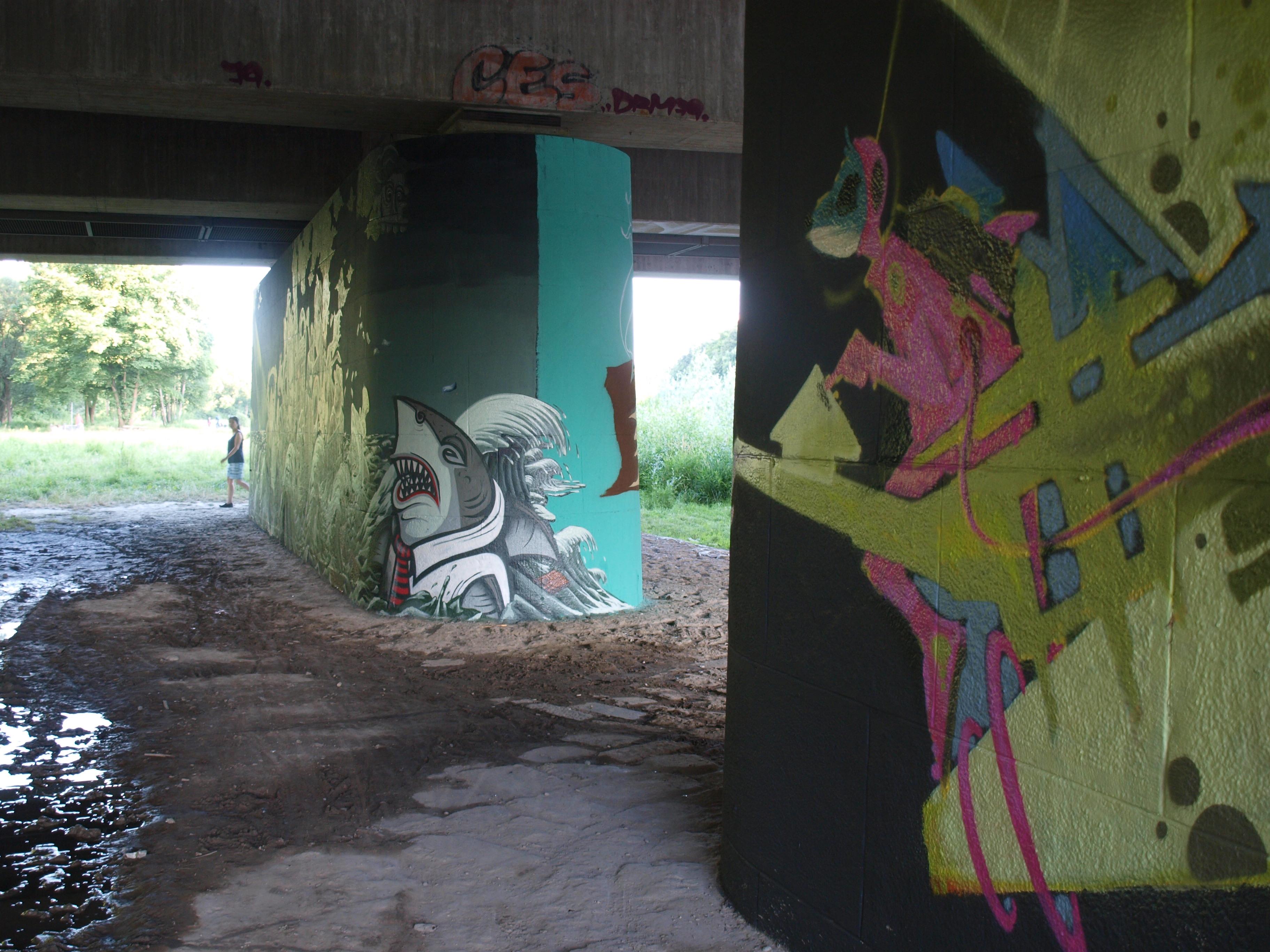 Graffiti unter der Brudermühlbrücke
